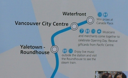 Incorrect signage. The RAV Line (Canada Line) does not connect to the Waterfront skytrain station.